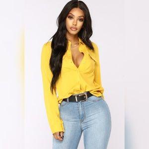 Fashion Nova Dark Mustard Button Down Shirt